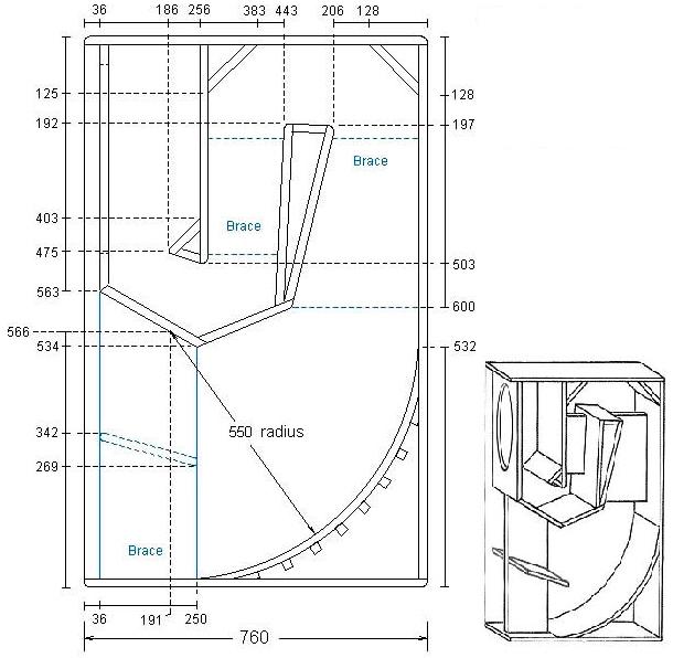 Основные размеры заготовок для изготовления рупорного сабвуфера