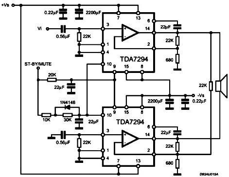 TDA7293 TDA7294 TDA7295 схема включкения, описание