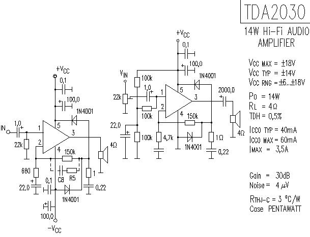на микросхеме TDA2052.