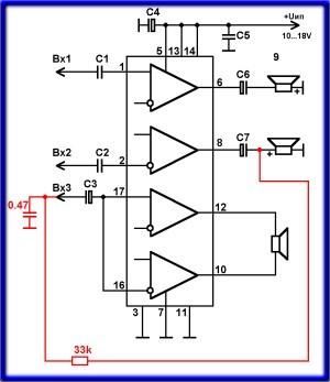 усилитель микросхеме схема tda2050 на