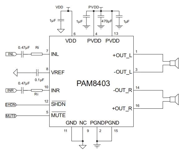 Схема усилителя мощности на PAM8403