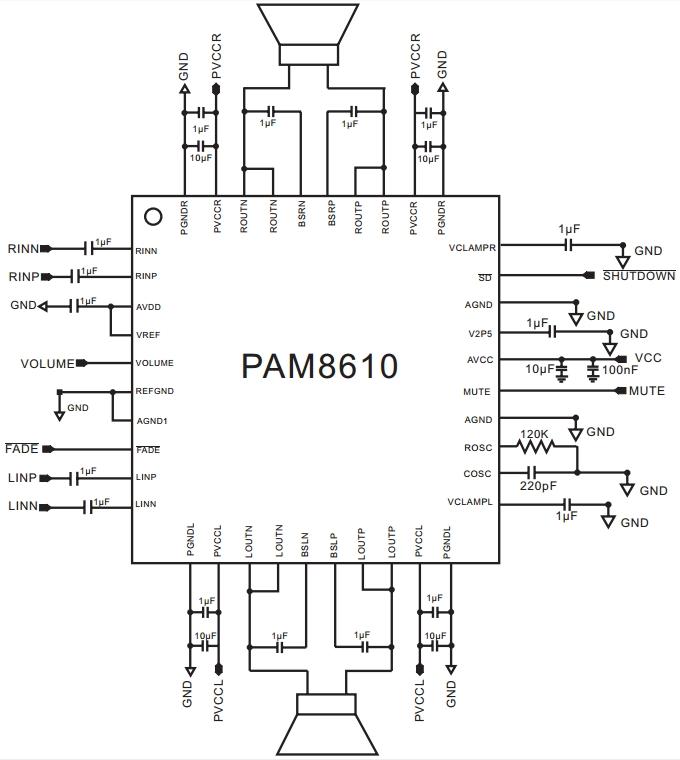 Усилитель мощности на PAM8610