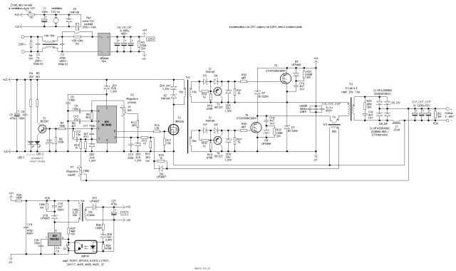 Схема сварочного аппарата с ограничением выходного напряжения и стабилизацией тока