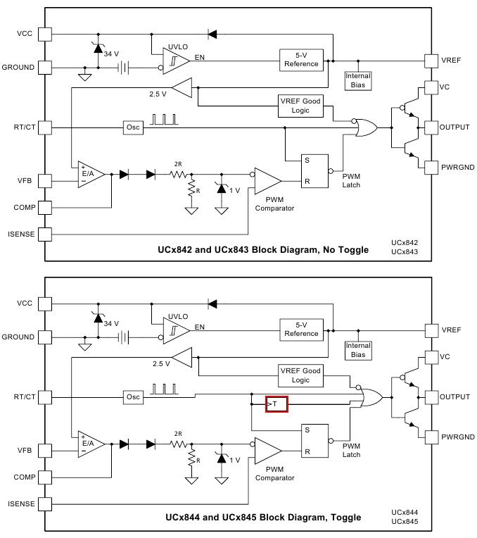 Блоксхема UC3842 и UC3845