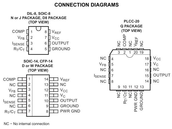 Типы корпусов микросхемы UC1842....UC3845