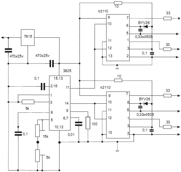 Управления силовыми транзисторами сварочного инвертора с помощью драйверов IR2110