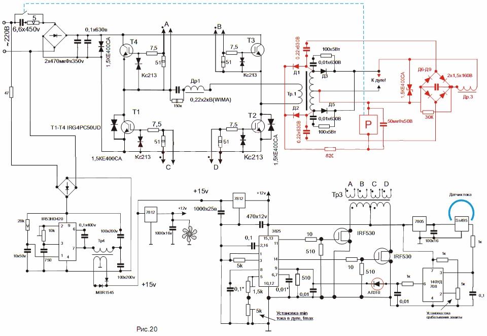 Схема сварочного инвертора со схемой вольтодобавки