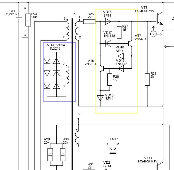 Ограничение тока и подавление выбросов в управляющем трансформаторе