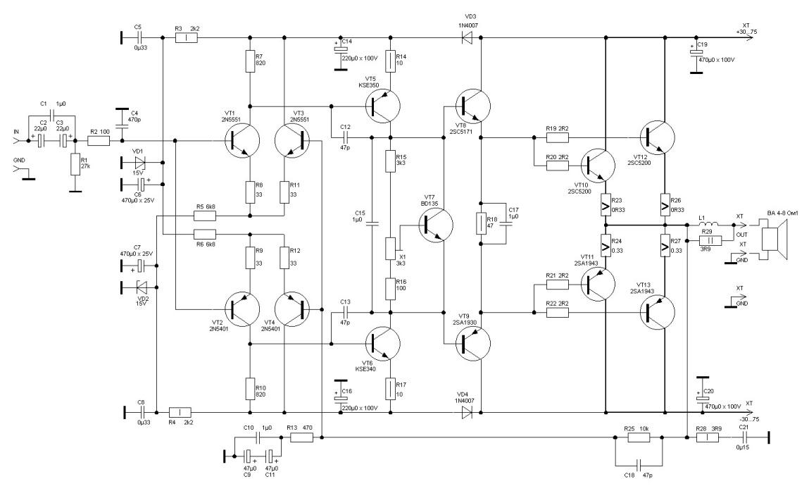 2sc5200 2sa1943 усилитель схема