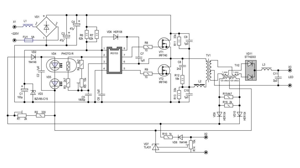 Схема мощного драйвера для светодиодов