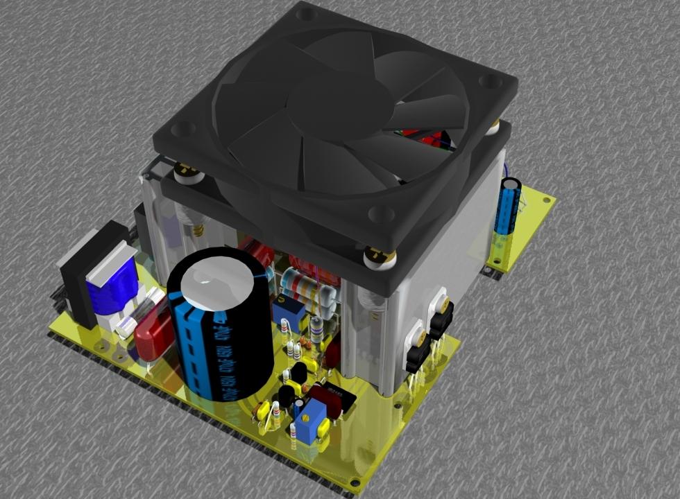 Импульсный блок питания с закрепленным вентилятором
