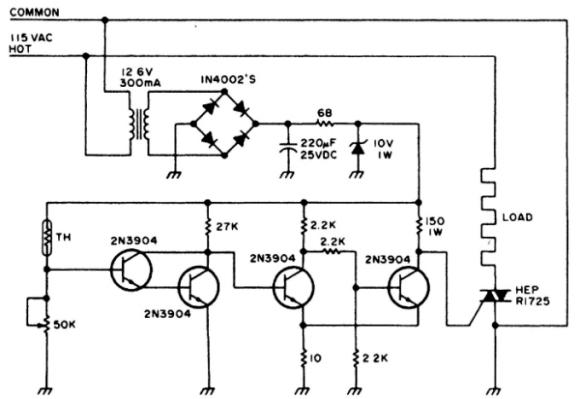 Принципиальная схема терморегулятора для электроплиты
